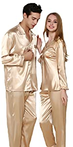 gold color  stain pajamas set for men