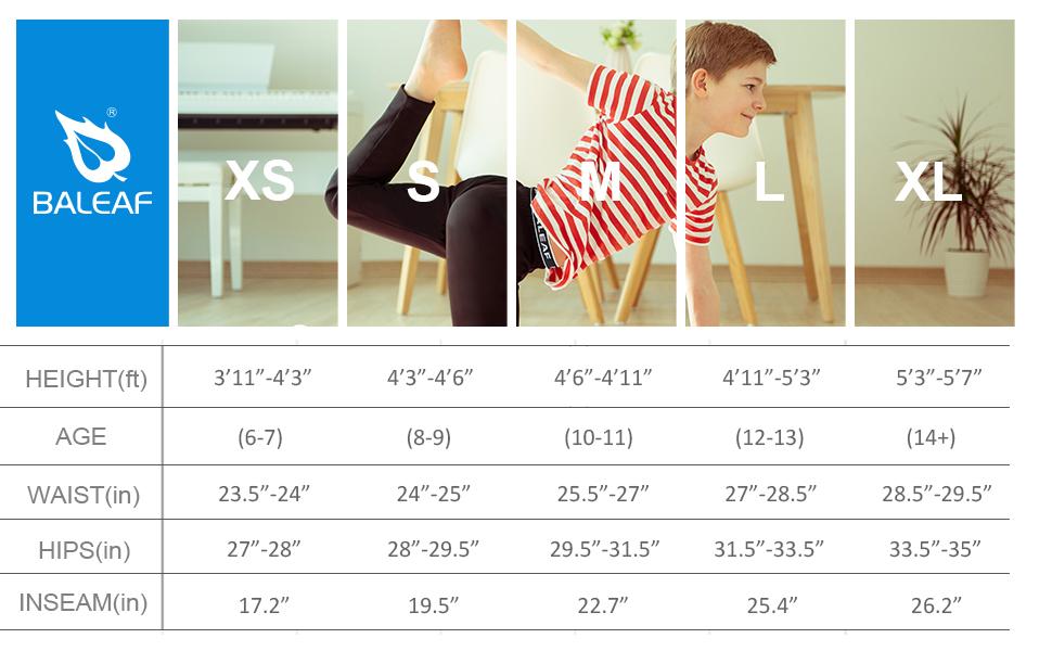 baleaf youth boys compression pants girls tights yoga sports youth kids leggings basketball pants