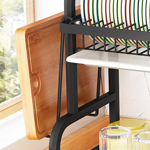 Dish Drying Rack, Cambond 304 Stainless Steel 2 Tier Dish Rack with Drain Board Utensil Holder