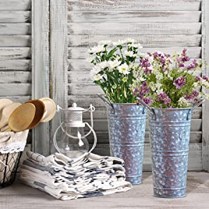 WH Galvanized Metal Farmhouse Flower Vases 9 Inch,  - Rustic Decorative French Flower Bucket