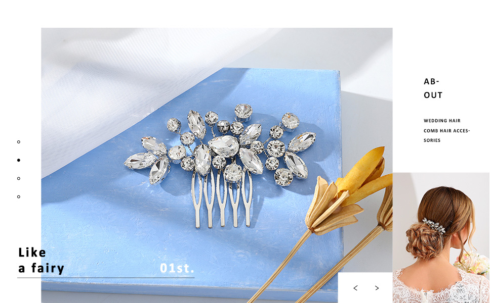 Catery Flower Crystal Bride Wedding Hair Comb Accessories With Pearl Bridal Side