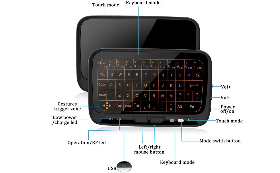2.4Ghz迷你无线键盘触摸板组合