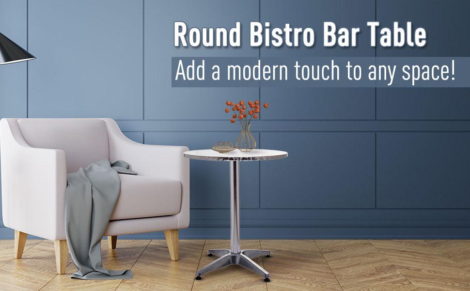 homcom modern stylish table stool metal silver