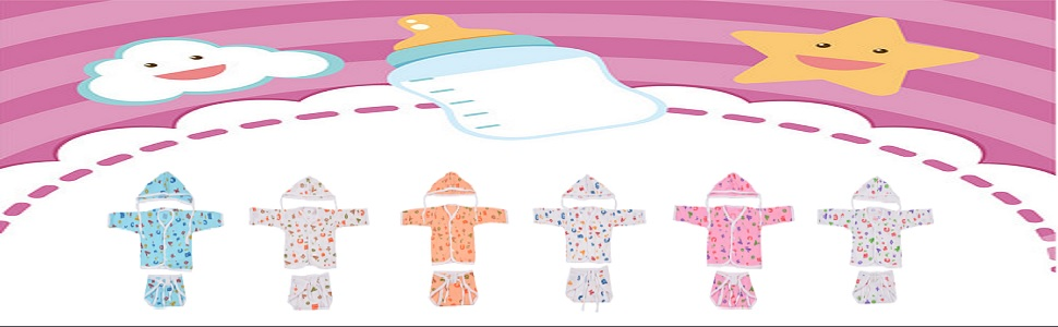 Toddylon® New Born Baby Combo of Baby Jhabla,Baby Nappy & Baby Cap – Pack of 6 (Multicolour;0-6 Months)