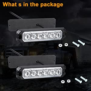 amber LED strobe light with mounting screws for front side rear vehicle applications