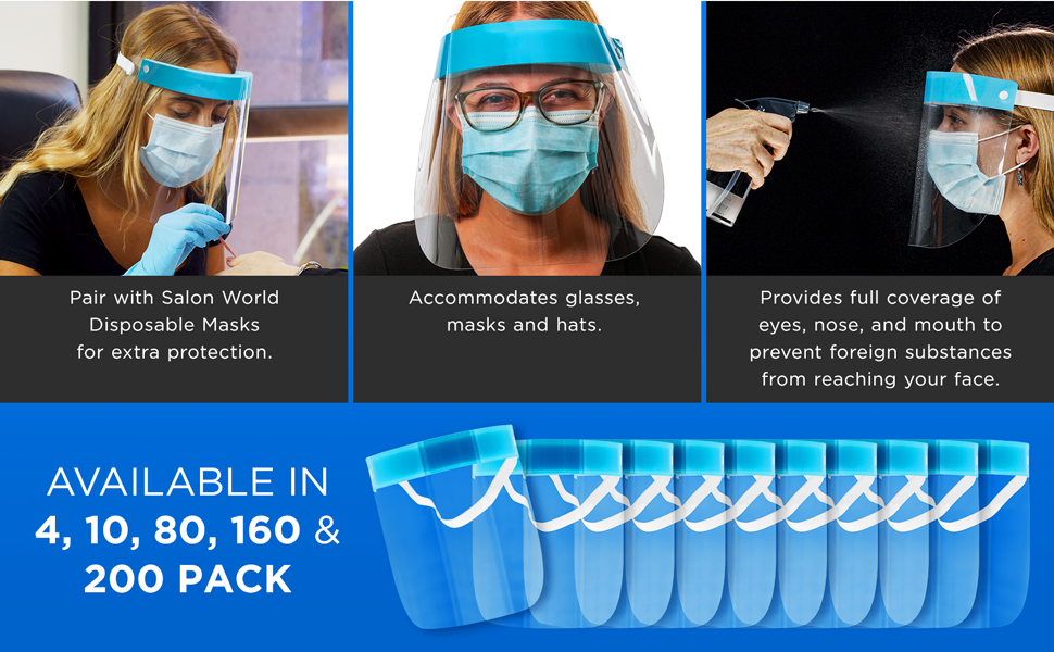 Salon World Safety Equipment Premium Protective Face Shield Plastic Headband Clear