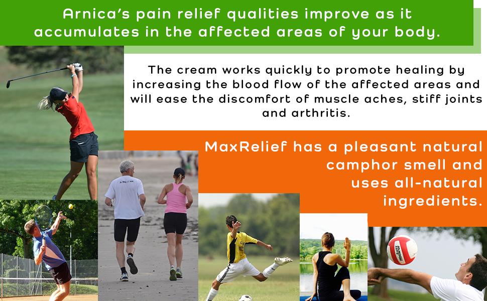 Arnica gel, max relief pain cream, maxrelief extra strength, eucalyptus extract, arthritis arnicare