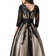 corset back black evening gown