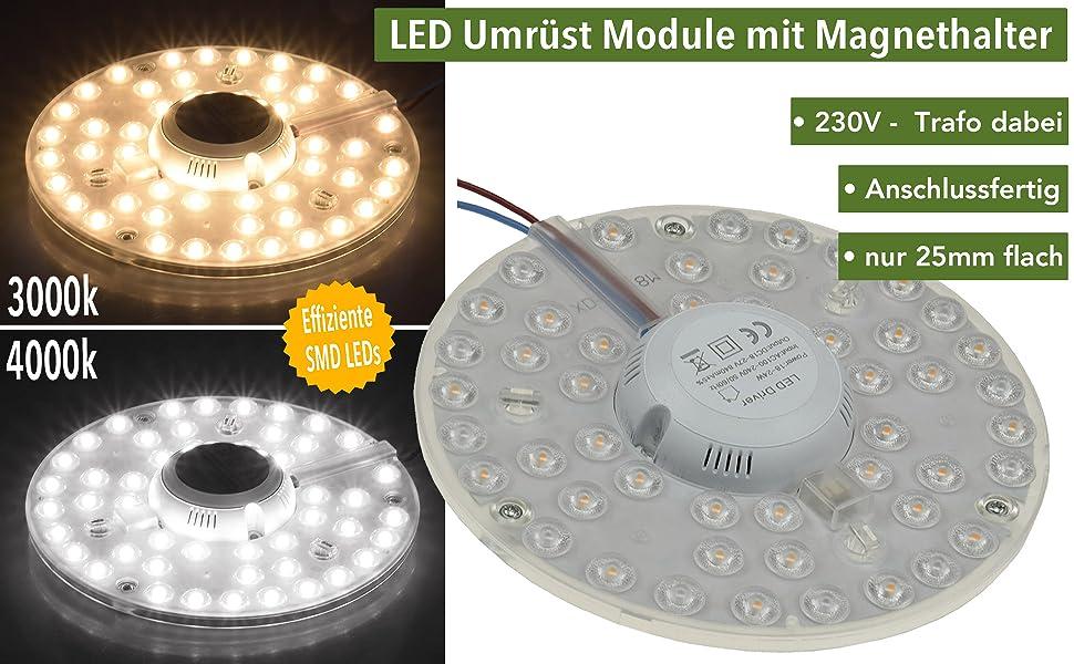 Led Ring Modul Fur Deckenleuchten Mit Magnethalter 12w O125 1080 Lumen 230v Anschlussfertig Warmweiss Amazon De Beleuchtung