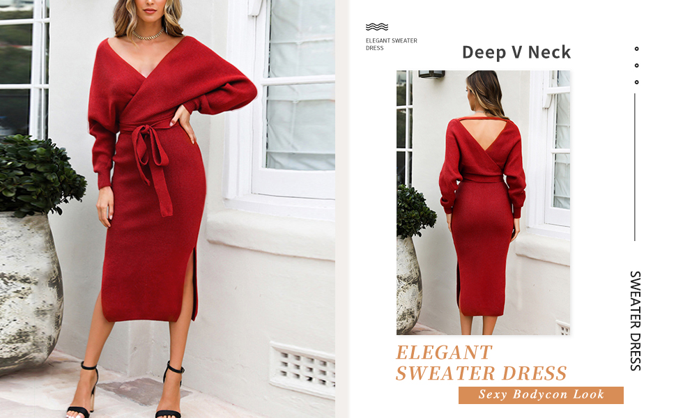 Womens V Neck Sexy Elegant Backless Bodycon Midi Sweater Dress