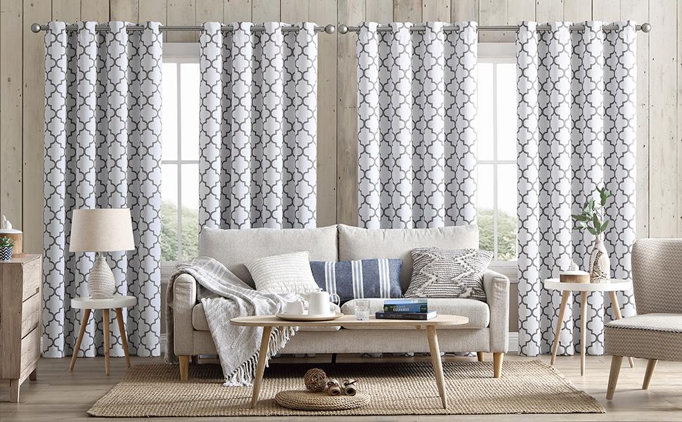 Lattice print grommet curtains