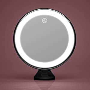 Fancii led lighted suction vanity mirror with natural daylight