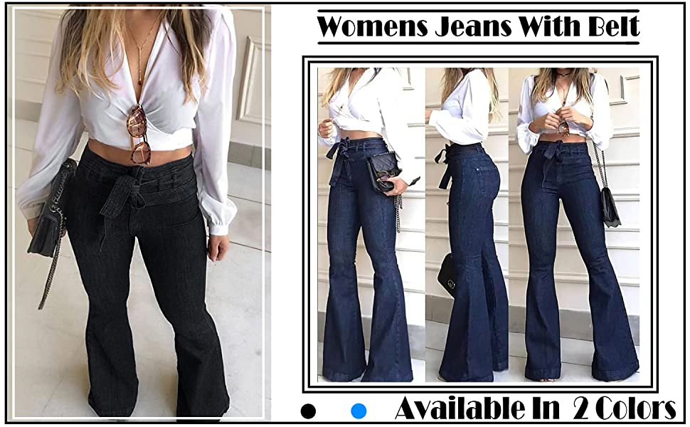 Pantete Womens High Waisted Bell Bottom Jeans Denim High Rise Flare Jean Pants With Belt