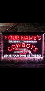 ADVPRO LED neon sign Personalized fonts text Dual-Color light man cave cowboys