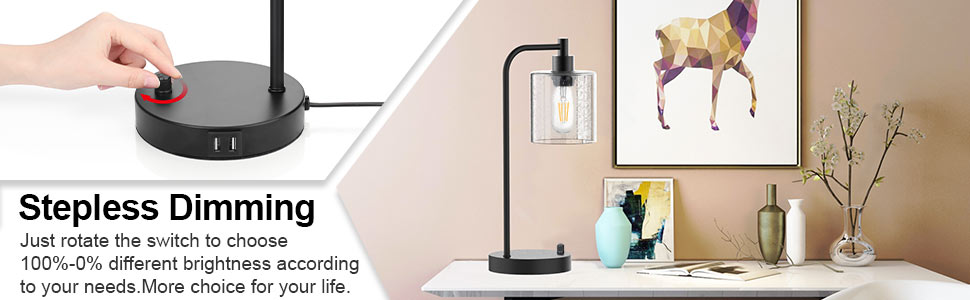 dimmable table lamp, fully dimming table lamps, stepless dimming desk lamps