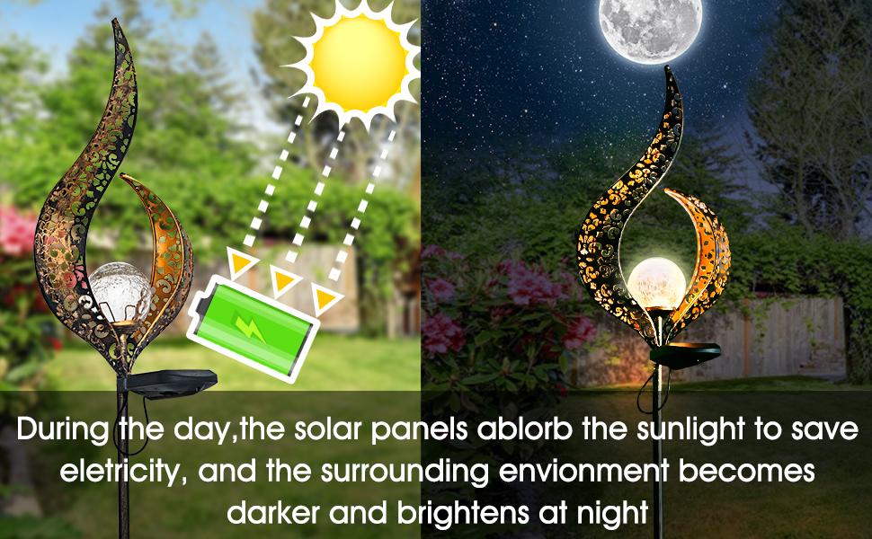 Outdoor Solar H/ängeleuchte Crack Glaskugel Solar H/ängeleuchte Lampe Lichterkette Landschaft Patio Gartenglas Solarleuchte 1St
