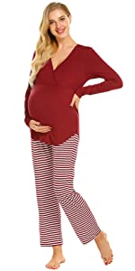 Maternity Women's 3 Pieces Soft Nursing Pajamas Set Postpartum Sleepwear for Breastfeeding
