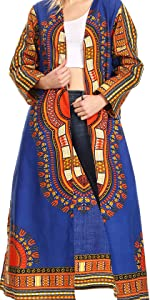cardigan top open front long sleeve dashiki print african cotton wax pockets flare casual event nice