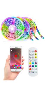 Led Strip Lights 50ft 5050 RGB LEDs Color Changing Light for Bedroom Desk Home Decoration Remote app