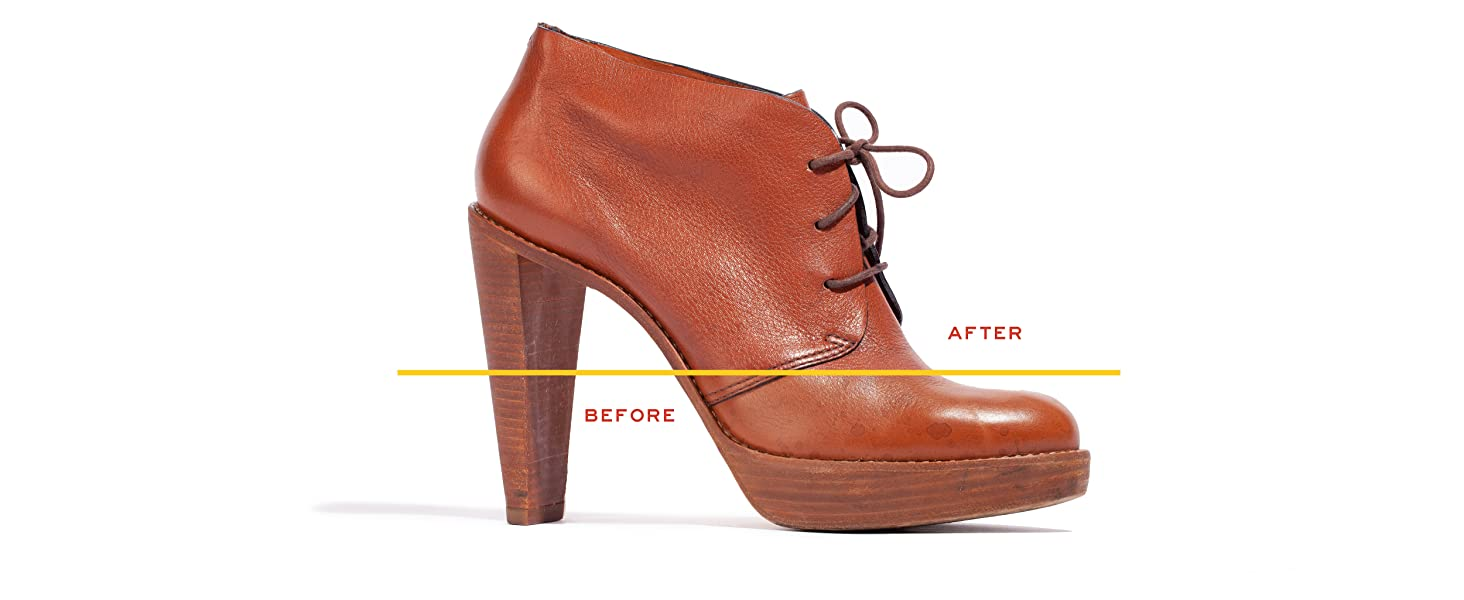 before and after leather honey heel