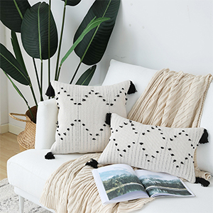 lumbar throw pillow cover tufted couch decorative pillow case 12'x20' white black pillows
