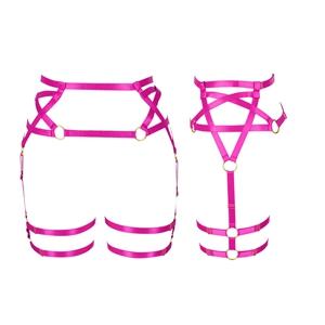 Harness Garter Belt+rose Red