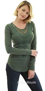 AmélieBoutik Women Crochet Lace Inset Curved Hem Blouse