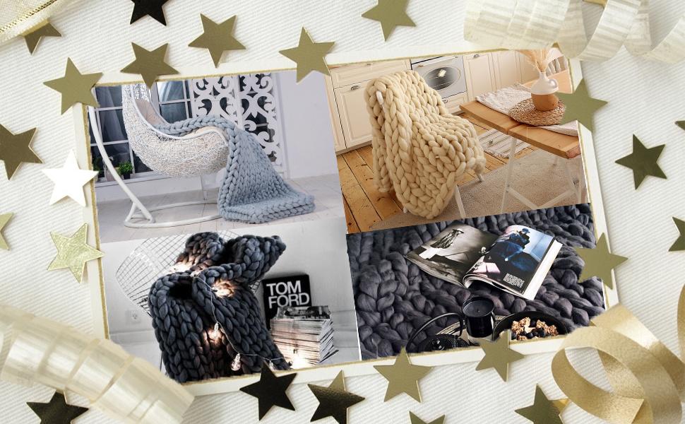 Knitted Throw Blanket for Sofa,Handmade Knit Chunky Blanket Throw Sofa Throw for Gift Sofa Bed