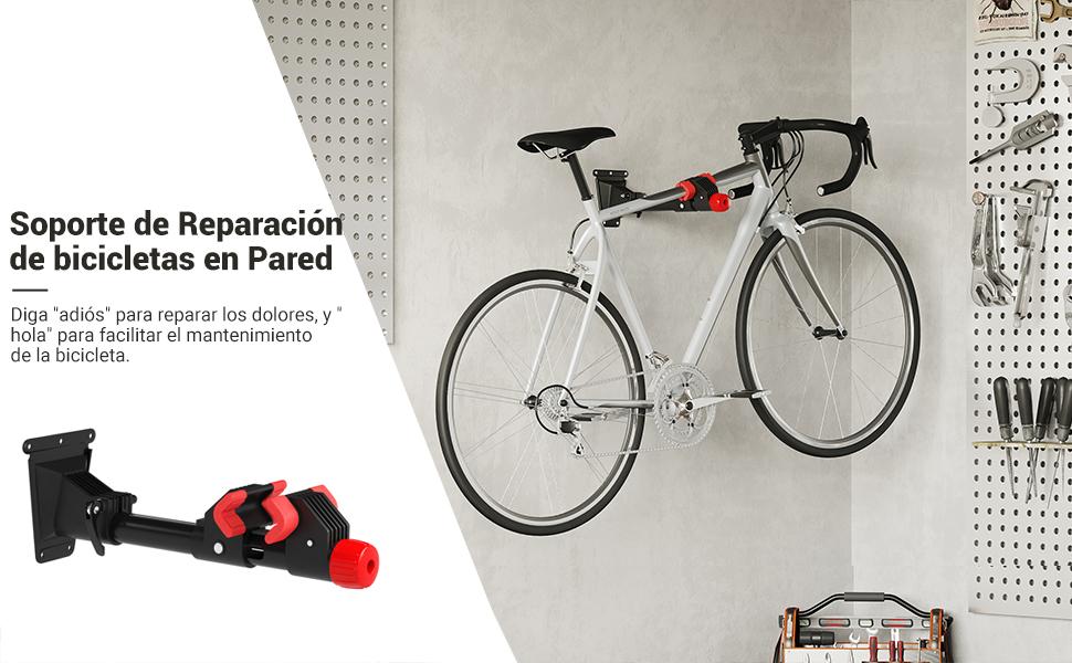 SONGMICS Soporte de Reparación de Bicicletas Montado en la Pared, Soporte de almacenamiento de bicicletas de alta resistencia, Rotación de 360 Grados, Soporte Extraíble, 2 Ménsula, Negro SBR08B: Amazon.es: Deportes y aire