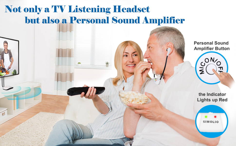 TV headset with personal sound amplifier
