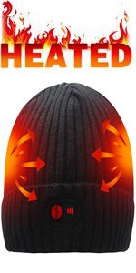 electric rechargeable battery heated hat warm winter heating cap cold weather thermal beanie