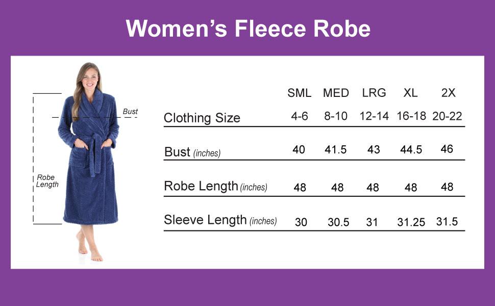 Sleepyheads Jacquard Robe Size Chart