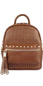 backpack, bookbag, studded, vegan leather