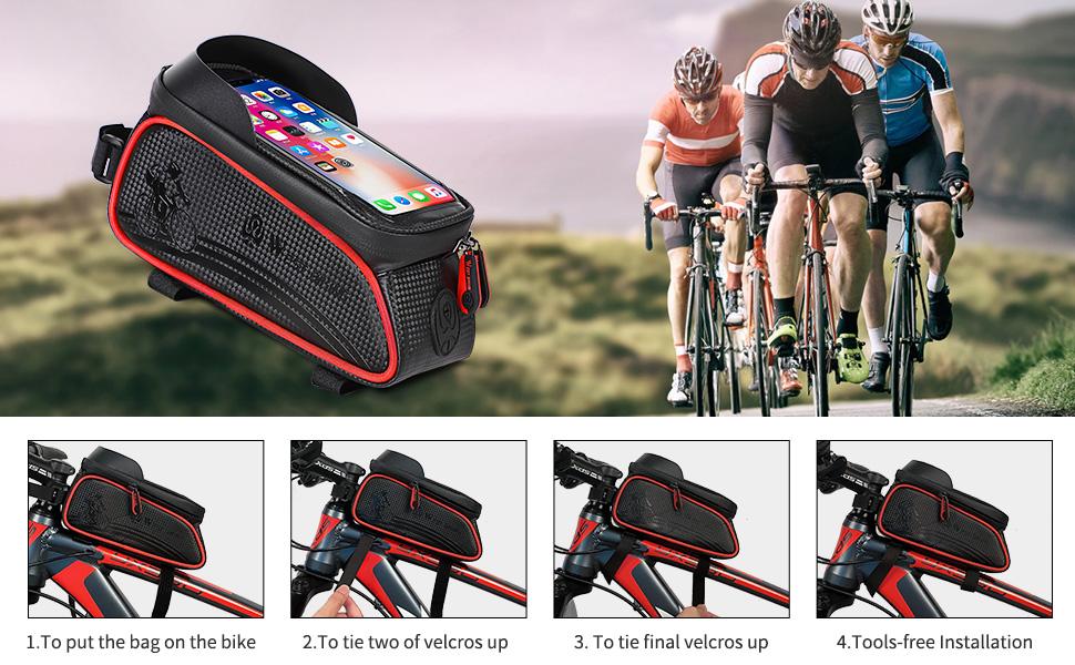 bags waterproof bicycle pannier mountain bike top bag sensitive touch screen detachable cell phone
