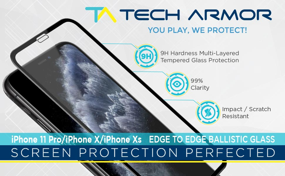 tech armor apple edge to edge glass screen protector tempered glass iphone 11 pro 2019 x xs 9h hardn