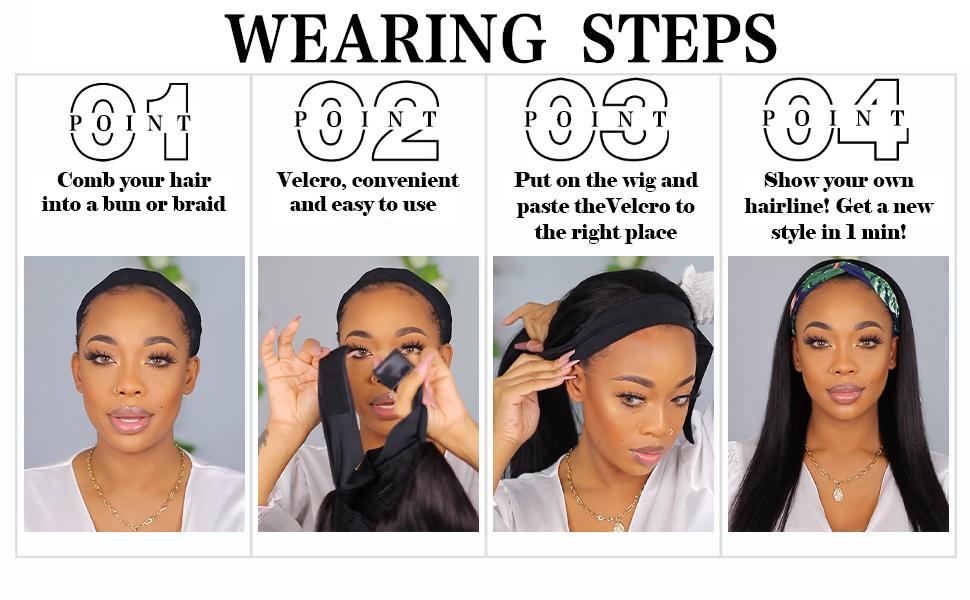 Long Straight Headband Wigs for Women Synthetic Headband Wigs Silky Straight Hair Wigs