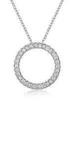 circle of life halo necklace diamond pendant wedding gift women womens girls holiday love eternity