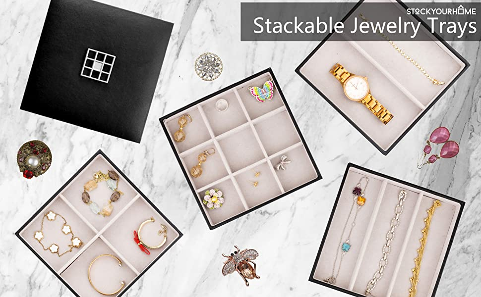 Stock Your Home Stacking Jewelry Trays S//4 with Lid Black