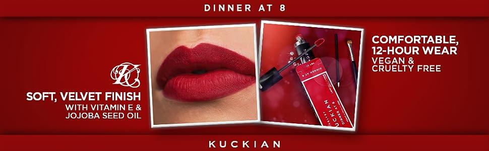red lipstick, dinner at 8, lipstick matte