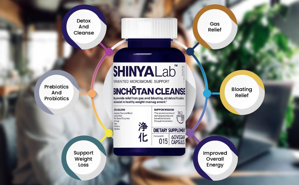 SHINYALab, Binchotan, cleanse, probiotic, prebiotic, detox, gas, bloating, relief, energy, weight