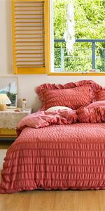 microfiber seersucker bedding comforter cover set