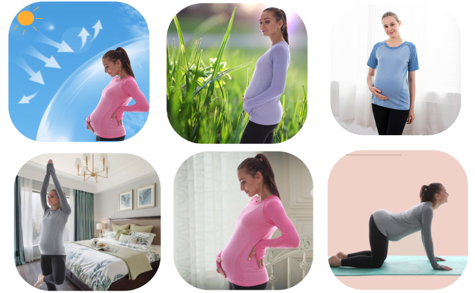 LWJ 1982 Maternity Workout Clothes Tops Shirts Tunic Women Long Sleeve Activewear
