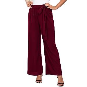 DouBCQ Women's Palazzo Lounge Wide Leg Summer Beach Casual Flowy Loose Comfy Pants