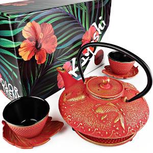 red and gold japanese iron tea set koi fish great design teacup saucers