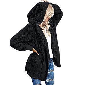 Oversized Open Front Fleece Hooded Fuzzy Cardigan Coats