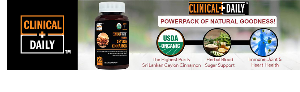 Clinical Daily Logo next to an image of the cinnamon capsules