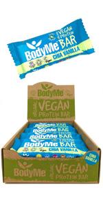 BodyMe Organic Vegan Protein Bars or Vegan Protein Bar or Vegan Protein Snack - Chia Vanilla