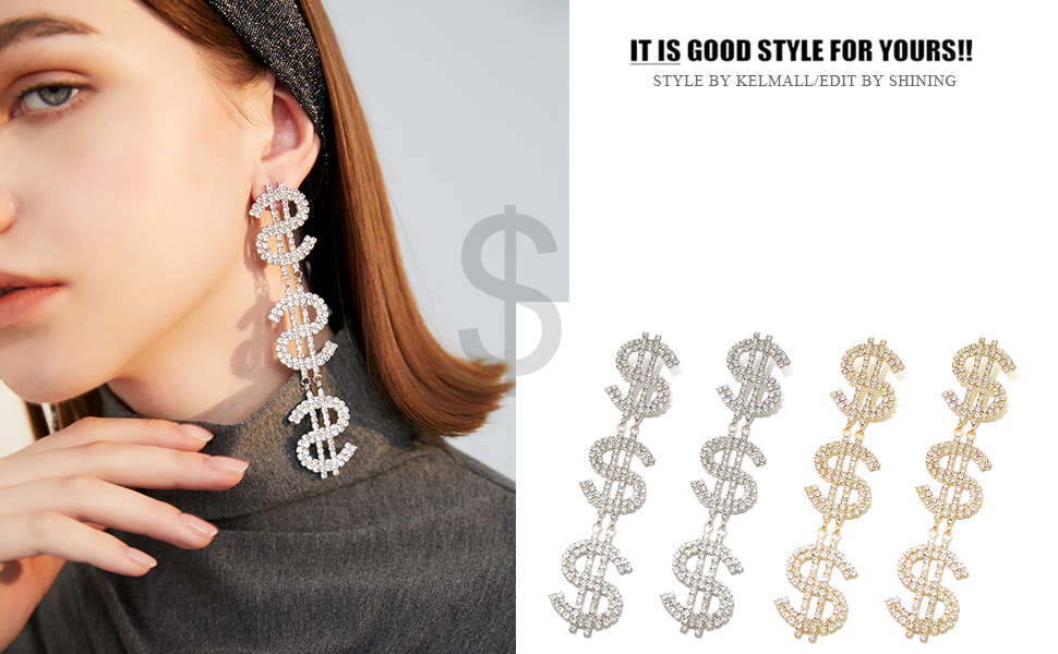 Dollar Sign Money Symbol Crystal Gold Tone Drop Dangle Statement Earrings Bold Fashion Jewelry