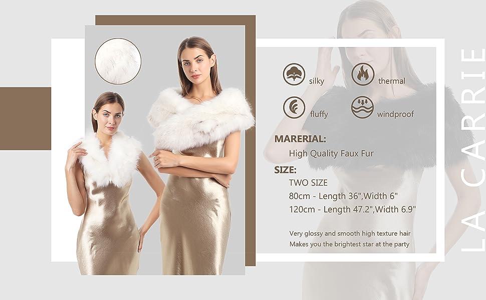 Scarf Faux Fur Women Collar Boa stole muffler Winter wrap Black Brown White fuzzy furry fake trim