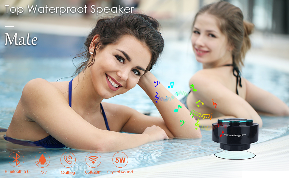 XLEADER SOUNDANGEL MATE - PREMIUM 5W SHOWER SPEAKER IPX7 CERTIFIED WATERPROOF BLUETOOTH SPEAKER WITH SUCTION CUP, 3D CRYSTAL SOUND & BASS, PERFECT MINI WIRELESS SPEAKERS FOR IPHONE IPAD POOL BATHROOM